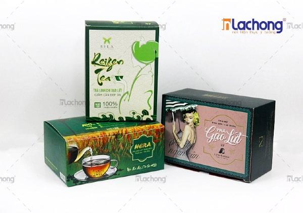 Mẫu vỏ hộp giấy đựng trà của HERA - Đối tác lâu năm của Lạc Hồng tại Thanh Hóa
