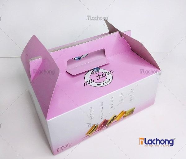 Mẫu in hộp giấy đựng bánh Macaron của Lạc Hồng