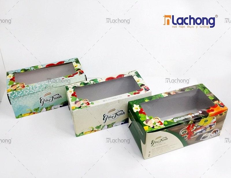 Gia công hộp giấy đựng bánh có cửa sổ bóng kính - dễ dàng quan sát sản phẩm bên trong