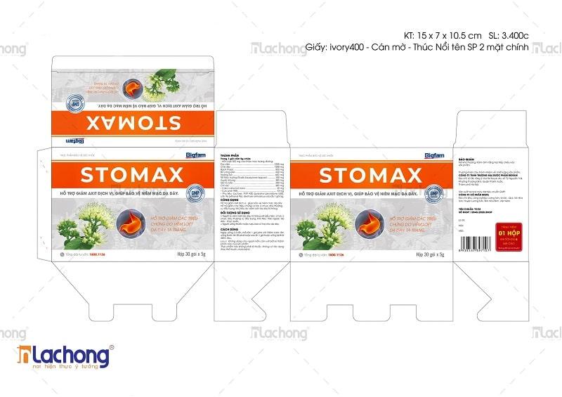 Thiết kế hộp thuốc dạ dày STOMAX của Lạc Hồng