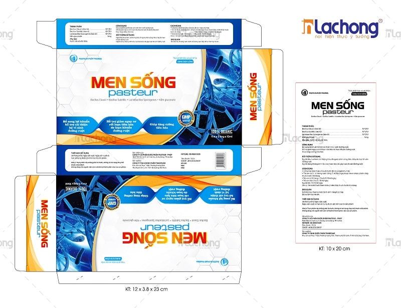 Thiết kế vỏ hộp và hướng dẫn sử dụng Men Sống Pasteur