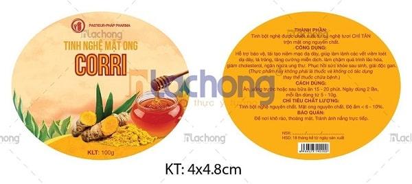 Thiết kế & in nhãn dán hộp, lọ tinh bột nghệ của Lạc Hồng