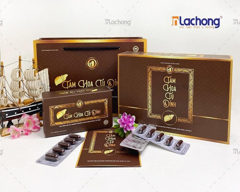 Bộ bao bì vỏ hộp cao cấp đựng thực phẩm chức năng Tam Hoa Tụ Đỉnh của Lạc Hồng