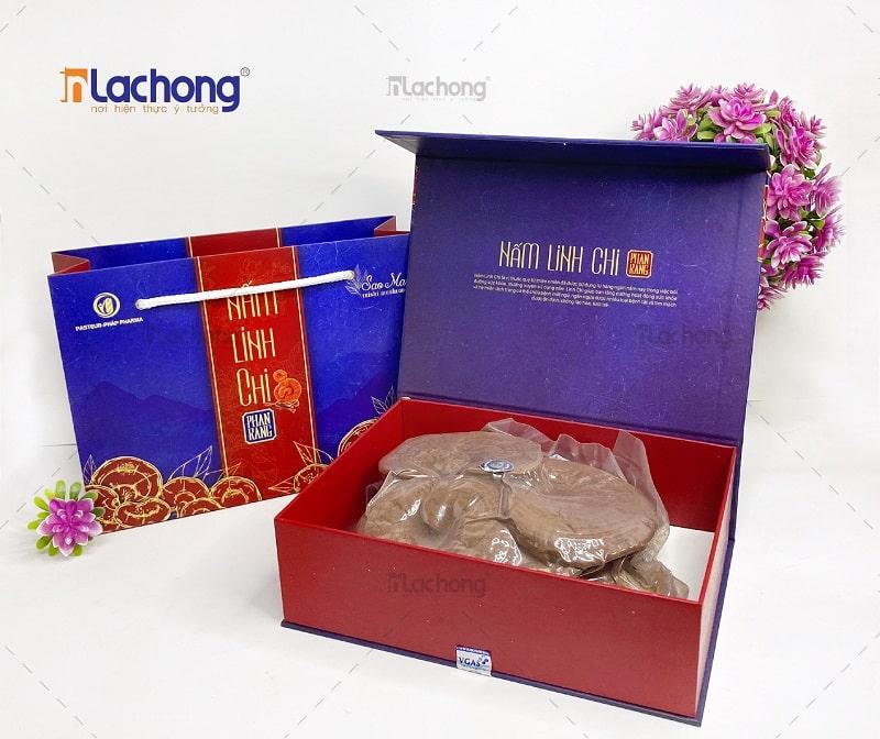 Vỏ hộp giấy cứng cao cấp đựng Nấm Linh Chi của Lạc Hồng