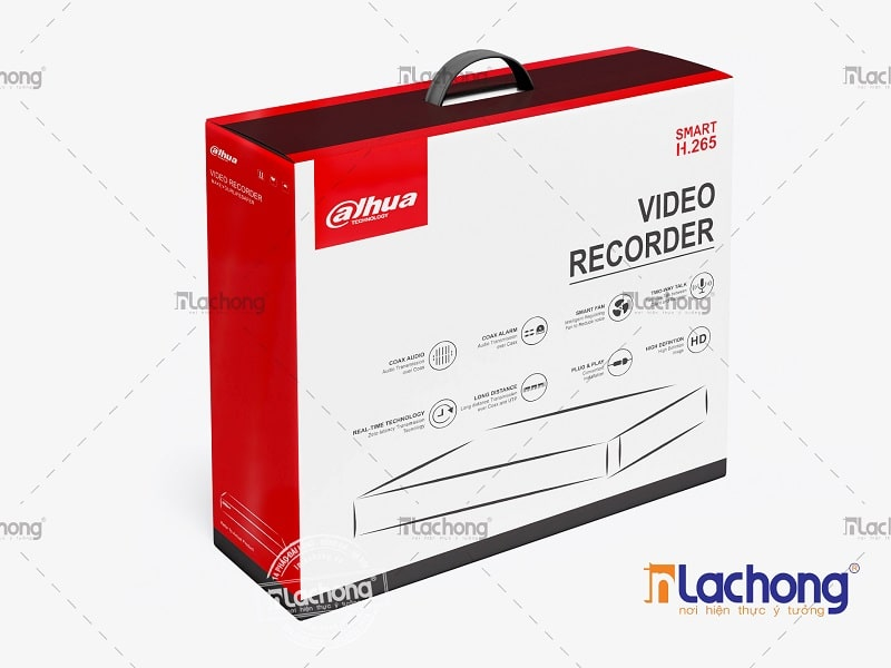 Mẫu thiết kế bao bì hộp giấy đựng các sản phẩm là máy móc, thiết bị có tay cầm bằng nhựa