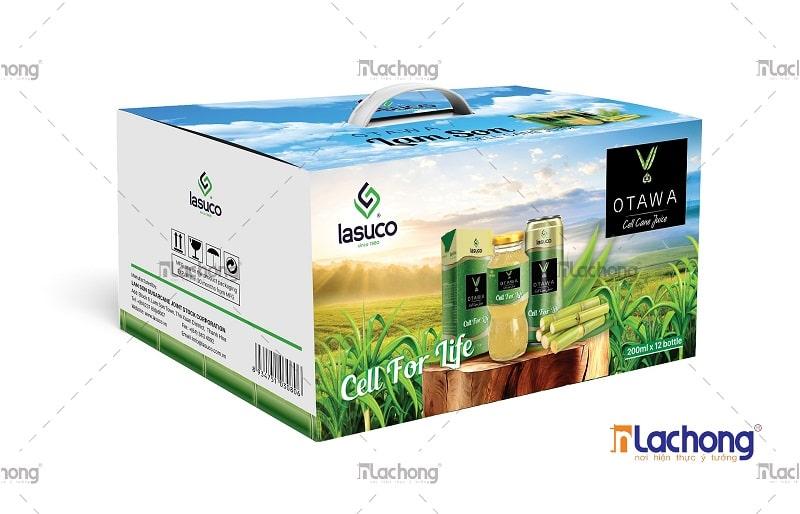 Mẫu thiết kế hộp giấy đựng các sản phẩm nước mía OTAWA